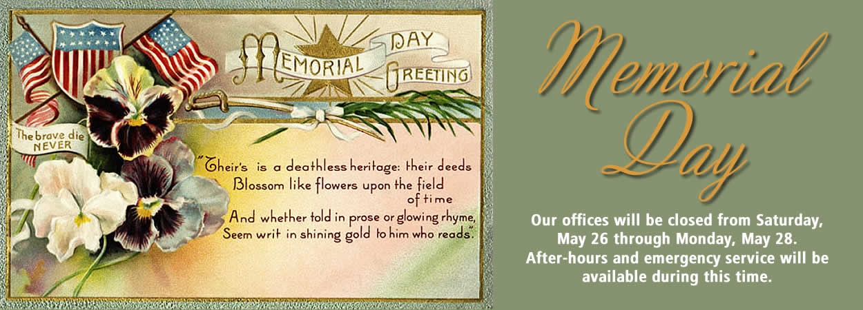 Image of old Memorial Day postcard with 2018 weekend hours for Star Gas